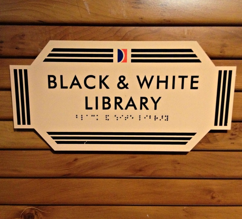 black and white library sign