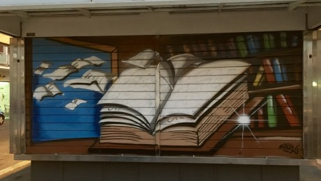 Rome street art.  Newspaper vendor.  Prenestina.